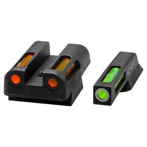 Hi-Viz LiteWave  H3 S&W M&P 380 Shield EZ Green Fiber Optic Tritium Front And Orange Rear Sight Set Steel Black