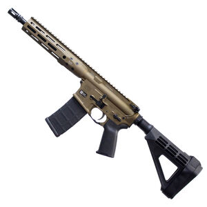 "LWRC DI AR-15 5.56 NATO Semi Auto Pistol 10.5"" Barrel 30 Rounds Modular One Piece M-LOK Free Float Rail System SB Tactical SBM4 Pistol Brace Burnt Bronze Finish"