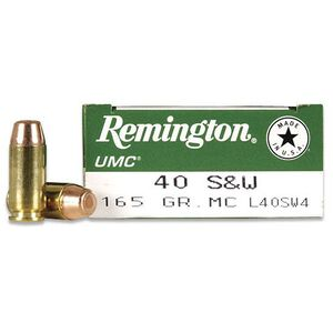 Remington UMC .40 S&W 165 Grain FMJ 50 Round Box