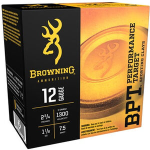 "Browning BPT Sporting 12 Gauge Ammunition 250 Rounds 2.75"" #7.5 Lead 1.125 Ounce B193631227"
