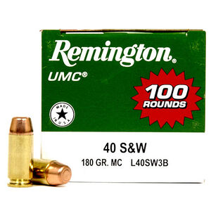Remington .40 S&W UMC Ammunition 100 Rounds, MC, 180 G