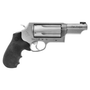 "Taurus Judge Magnum .45 Long Colt/.410 Bore Double Action Revolver 3"" Barrel 3"" Chamber 5 Rounds Ameriglo Night Sight Hogue Grip Matte Stainless Steel Finish"