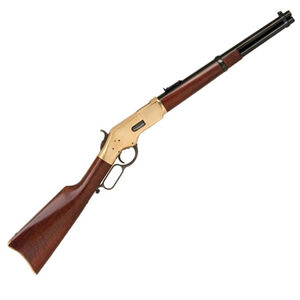 "Cimarron 1866 Yellowboy Trapper Lever Action Rifle .45 LC 16"" Barrel 10 Rounds Brass Receiver Walnut Stock Blued CA235"