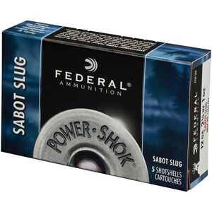"Federal Power-Shok 12 Gauge Ammunition 5 Rounds 2.75"" 1oz. Sabot Slug HP 1,500 Feet Per Second"