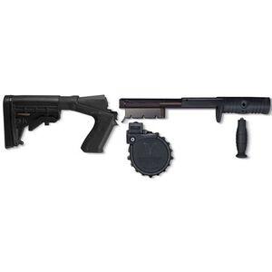 Adaptive Tactical Sidewinder Venom Shotgun Magazine Conversion Kit with 10 Round Drum Magazine and M4 Stock Mossberg 500 Polymer  Black