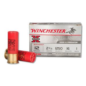 "Winchester 12-Gauge 2.75"" Shotshells Super X #1 Buck 5 Rounds"
