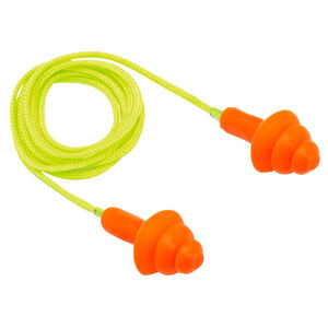 Pyramex Reuseable Corded Earplugs 24dB Noise Reduction Rating Flexible Rubber Plugs Orange 50 Pairs