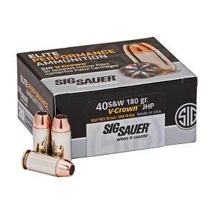 SIG Sauer Elite Performance V-Crown Ammunition 20 Rounds .40 S&W 180 Grain V-Crown Jacketed Hollow Point Projectile 985fps