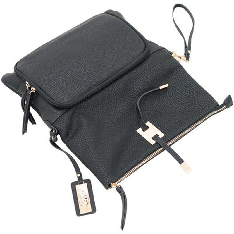 "Cameleon Aya Clutch/Crossbody Handbag with Concealed Carry Gun Compartment 13""x8""x3"" Synthetic Leather Black"