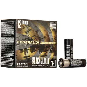 "Federal Black Cloud FS Steel High Velocity 12 Gauge Ammunition 3"" #2 1-1/8 Oz Steel Shot 1635 fps"