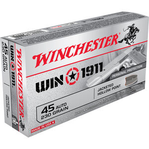 Winchester Win1911 .45 ACP Ammunition 230 Grain Nickel JHP 880 fps