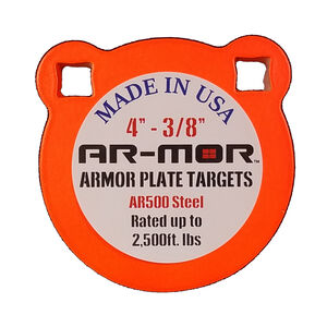"""AR-Mor Armor Plate Targets 4"""" AR500 Gong Steel Shooting Target 3/8"""" Thick Pre-Painted/Ready to Use Orange Finish"""