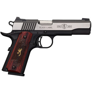 "Browning 1911-380 Black Label Medallion Pro Semi Auto Handgun .380 ACP 4.25"" Barrel 8 Rounds Rosewood Grips Stainless Slide Black Polymer Frame"