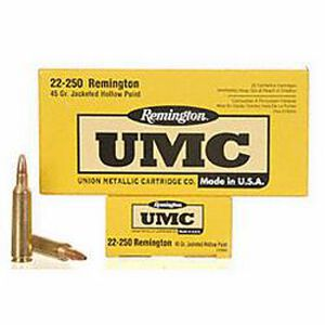 Ammo .22-250 Remington UMC Jacketed Hollow Point 45 Grain 4000 fps 20 Round Box