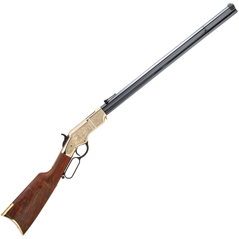 "Henry Original Deluxe Engraved 3rd Edition .44-40 Win Lever Action Rifle 24.5"" Octagon Barrel 13 Rounds Hardened Brass Receiver Walnut Stock Blued"