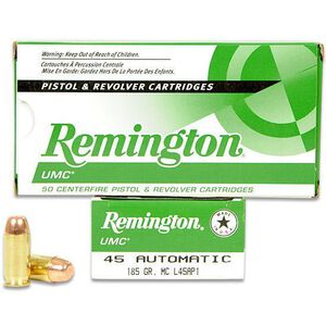 Remington UMC .45 ACP Ammunition 50 Rounds 185 Grain Full Metal Jacket 1015fps