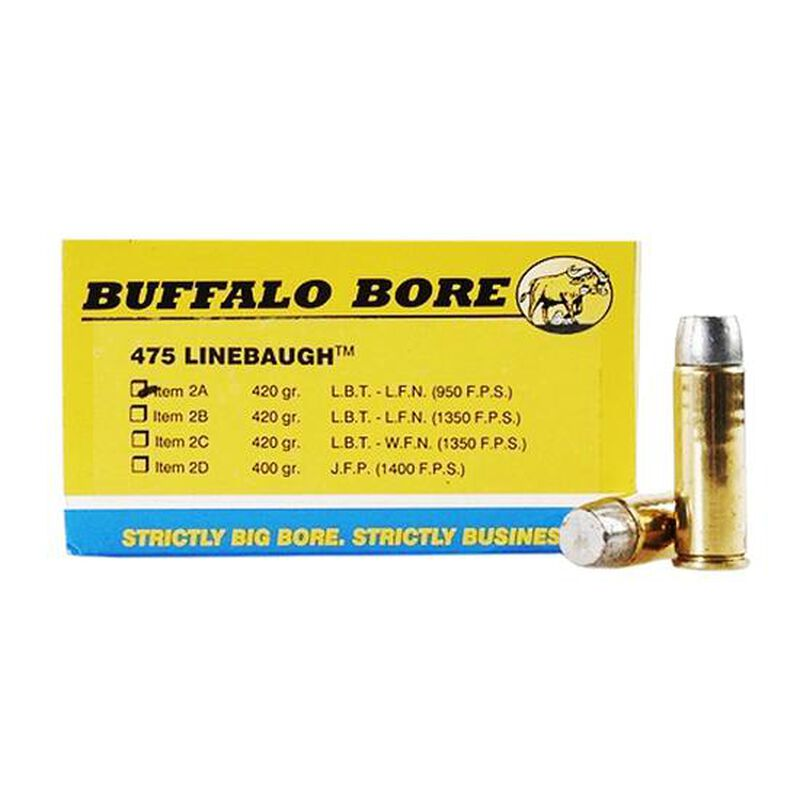 Buffalo Bore .475 Linebaugh Ammunition 20 Rounds Hard Cast LBT LFN 420 Grain 2A/20