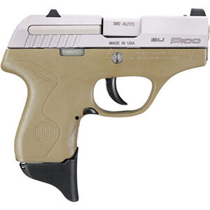 "Beretta Pico .380 ACP Semi Auto Pistol 2.7"" Barrel 6 Rounds XS Front Night Sight Two Tone FDE Polymer Frame with Inox Slide Finish"