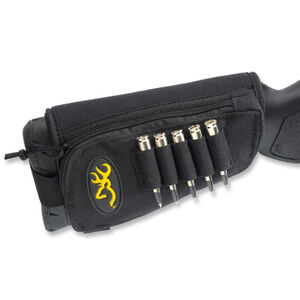 Browning Stock Option Rifle 5 Round Ammunition Holder and Zippered Pouch Hook and Loop Attachment Synthetic Black