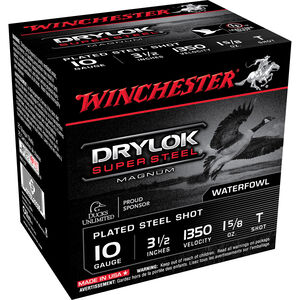 "Winchester Drylok Steel 10ga 3-1/2"" T-Shot 1-5/8oz 25 Rd Box"