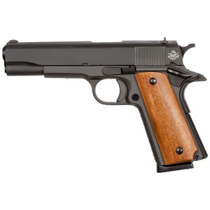 "Rock Island Armory G1 Series Standard Full Size 1911 Semi Auto Pistol .45 ACP 5"" Barrel 8 Rounds Fixed Sights Wood Grips Parkerized Slide/Frame Matte Black"