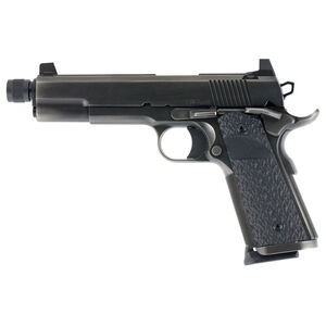 "Dan Wesson Wraith Full Size 1911 9mm Luger Semi Auto Pistol 5.75"" Threaded Barrel 10 Rounds Suppressor Height Night Sights G10 Grips Duty Black Finish"