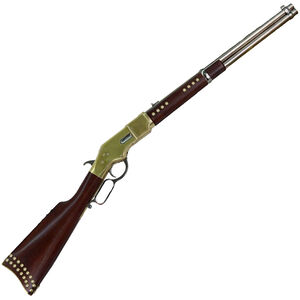 """Cimarron Firearms 1866 Indian Carbine Lever Action Rifle .45 LC 19"""" Round Barrel 10 Rounds Brass Receiver Walnut Stock with Brass Accents Nickel Finish"""