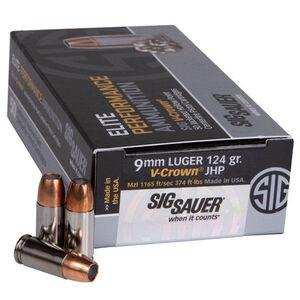 SIG Sauer Elite Performance V-Crown 9mm +P Ammunition 124 Grain V-Crown JHP 1198fps