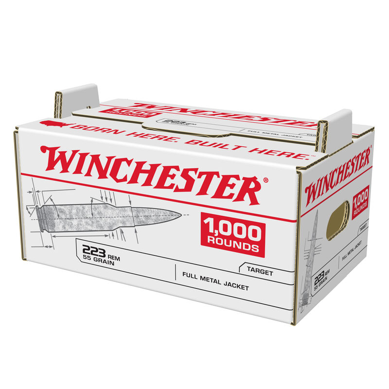 Winchester .223 Rem. Ammunition Stack-N-Carry Case of 1000 Rounds FMJ 55 Grains