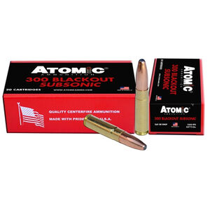 Atomic .300 AAC Blackout Ammunition 20 Rounds 260 Grain Round Nose Soft Point Projectile 1050fps
