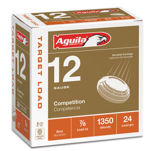 "Aguila International Competition 12 Gauge Ammunition 25 Rounds 2-3/4"" Length 7/8 Ounce #8 Shot 1350fps"