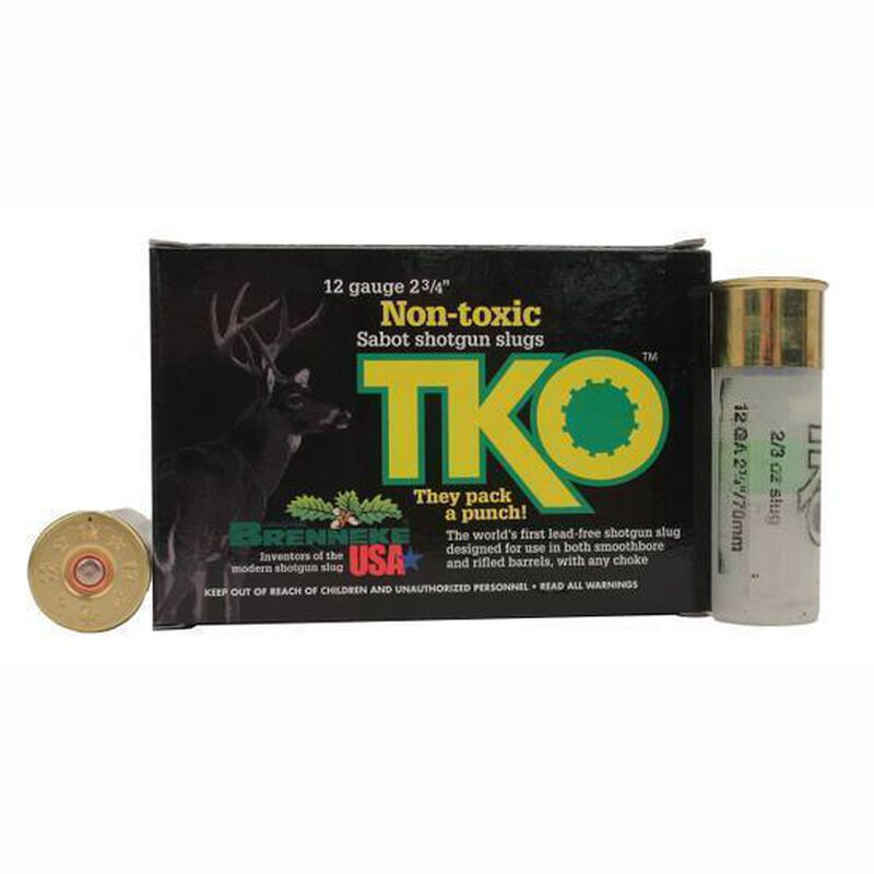 "Brenneke USA T.K.O. 12 Gauge Ammunition 5 Rounds 2-3/4"" 2/3 oz Rifled Slug Lead Free 2001 fps"