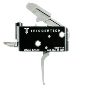 Trigger Tech Adaptable AR-15 Primary Drop In Replacement Trigger Flat Lever Two Stage Adjustable Natural Stainless Steel Finish
