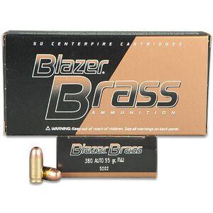 CCI Blazer Brass .380 ACP Ammunition 50 Rounds TMJ 95 Grains 5202