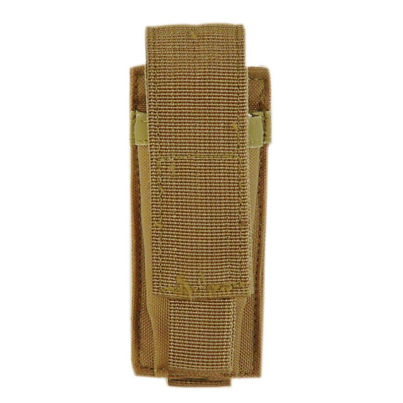 Voodoo Tactical Single Pistol Magazine Pouch Velcro Closure MOLLE Compatible Nylon Coyote Tan
