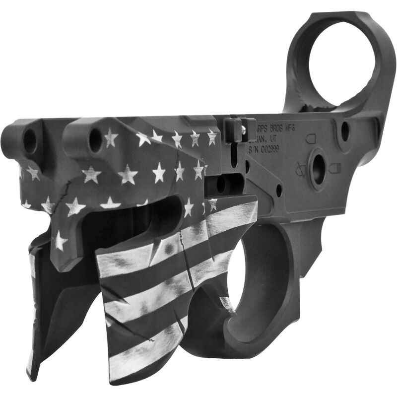 Sharps Bros. Overthrow Stripped AR-15 Lower Receiver 7075-T6 Aluminum Anodized Multi-Cal Marked Cerakote Black/Gray Flag Finish