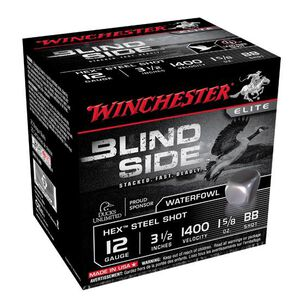 "Winchester Blind Side 12 Ga 3.5"" BB Hex Steel 25 Rounds"