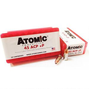 Atomic .45 ACP +P Ammunition 185 Grain Bonded Match Hollow Point 1225fps