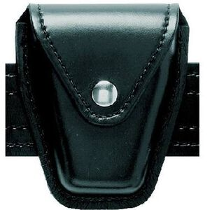 Safariland Model 190 Handcuff Pouch Chain Cuffs Top Flap Chrome Snap SafariLaminate High Gloss Black 190-9