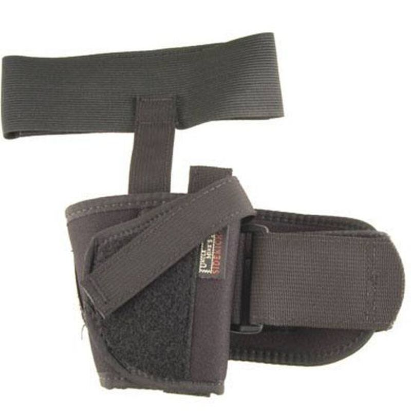 """Uncle Mike's Ankle Holster Left Hand Small Double Action Revolver with Exposed Hammer 2"""" Barrel Nylon Black"""
