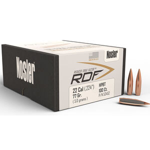 """Nosler RDF Rifle Bullets .22 Cal .224"""" 77 Grain HP Boat Tail 100 Count"""