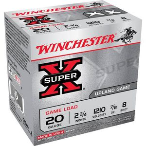 """Winchester Super X Game Load 20 Gauge Ammunition 25 Rounds 2.75"""" #8 Lead 7/8 Ounce XU208"""