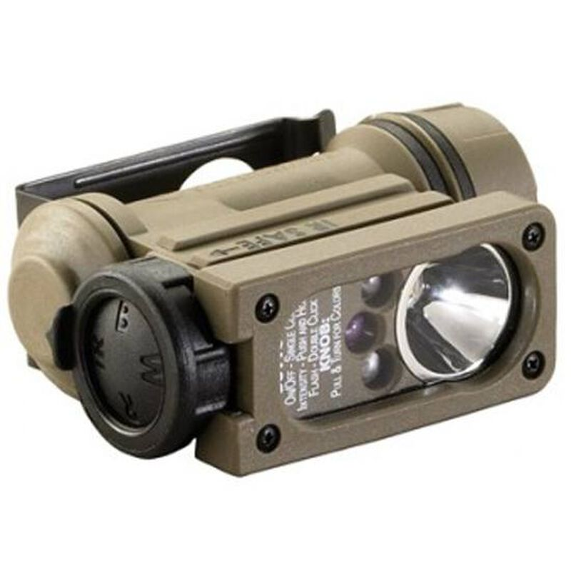 Streamlight Sidewinder Compact Hands Free LED Flashlight 55 Lumens White, Red, Blue, IR Bulbs Multi Battery Polymer Coyote Tan