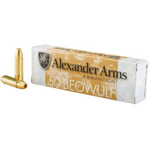 Alexander Arms .50 Beowulf Ammunition 20 Rounds 385 Grain Brass HP 1570fps