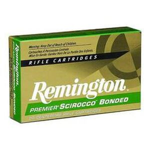Ammo .30-06 Springfield Remington Premier Scirocco Polymer Tip Bonded 150 Grain 20 Round Box 2910 fps PRSC3006C