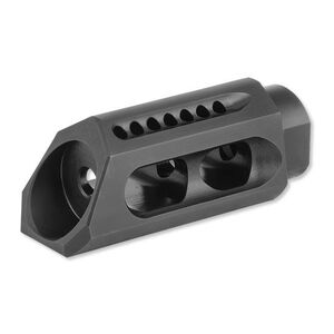 "Yankee Hill Machine AR-15 5.56/.223 Caliber Slant Muzzle Brake 1/2""x28 Thread Pitch Crush Washer Included Heat Treated Steel Melonite QPC Matte Black Finish"