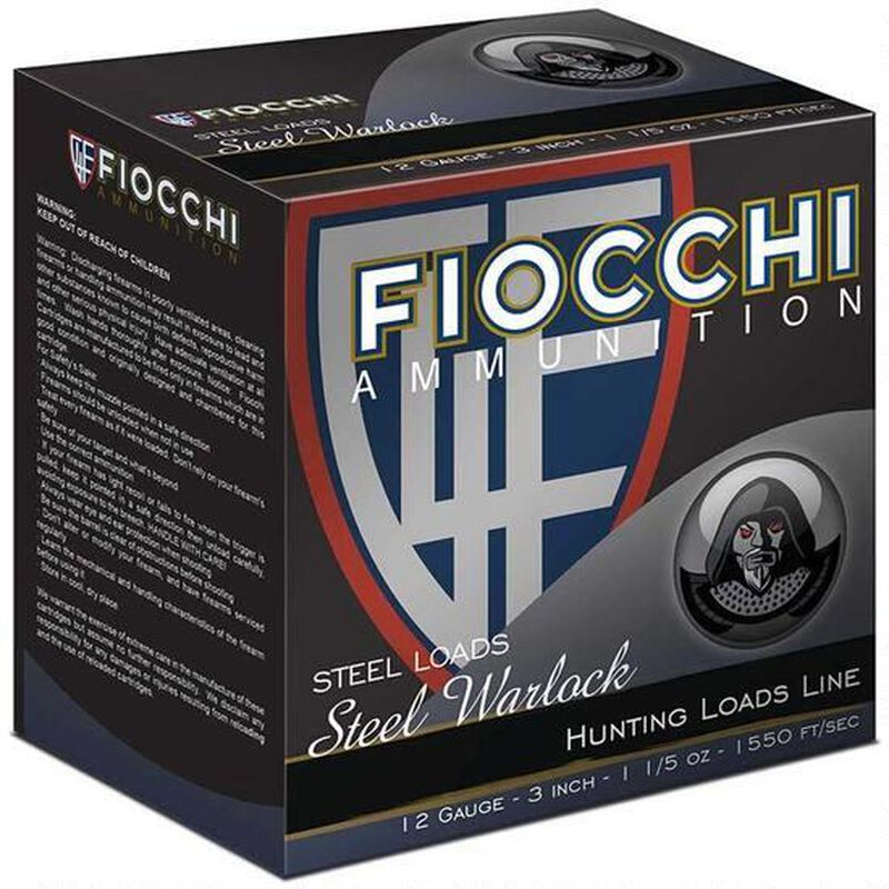 "Fiocchi Steel Warlock 12 Gauge Ammunition 3"" BB 1-1/5 oz Steel Shot 1550 fps"