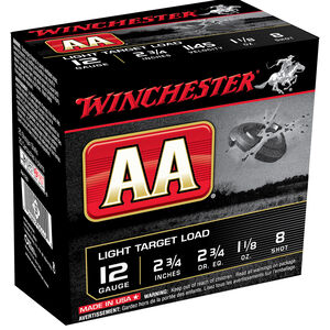 "Winchester AA Light Target Load 12 Gauge Ammunition 100 Round Value Pack 2-3/4"" #8 Lead 1-1/8 Ounce 1145 fps"