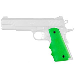 Hogue 1911 Full Size Grip With Finger Grooves Overmolded Rubber Zombie Green 45005