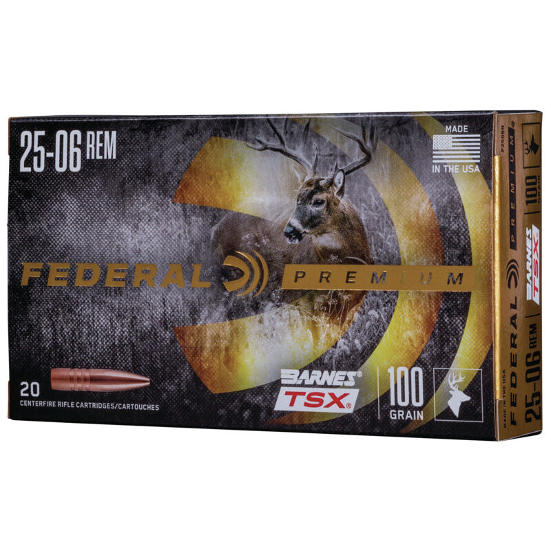 Ammo .25-06 Remington Federal Vital-Shok Barnes TSX Lead Free 100 Grain 20 Round Box 3210 fps P2506H